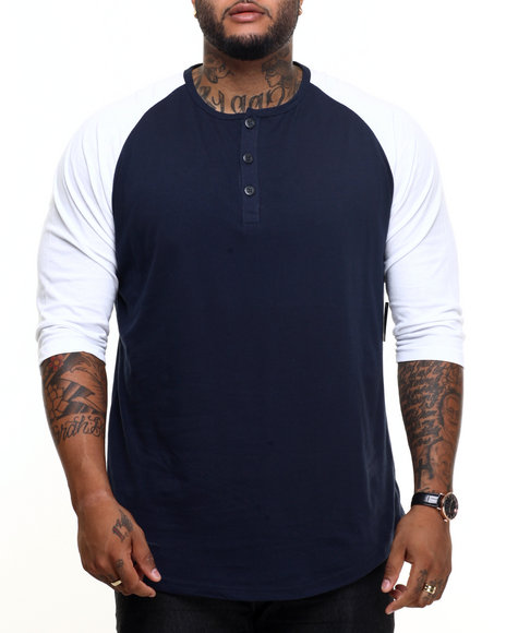 Basic Essentials - Men Navy 3/4 Raglan Sleeve Henley Tee