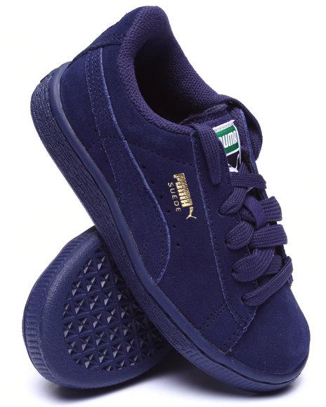 Puma - Boys Navy Suede Jr Sneakers (11-7)