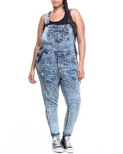 Basic Essentials - Destructed Denim Overall (Plus)