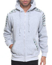 Men - Zip-Up Fleece Hoodie W/ Aztec Trim