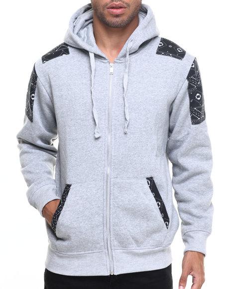 Buyers Picks - Men Grey Zip-Up Fleece Hoodie W/ Aztec Trim