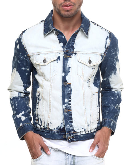 Kilogram - Men Dark Wash Jason Bleached Denim Jacket