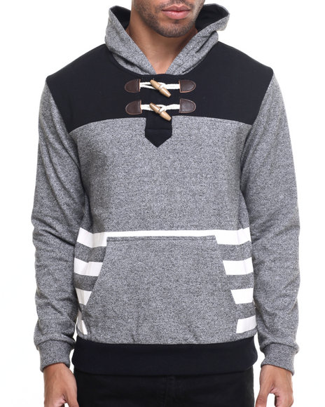 Kilogram - Men Grey French Terry Toggle Hoodie