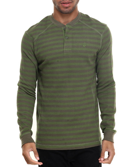 Rocawear - Men Green Striped Henley Thermal