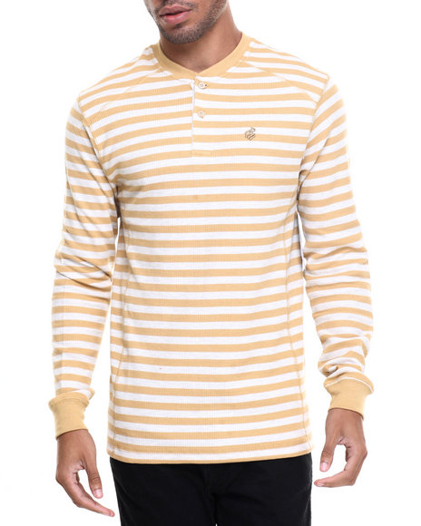 Rocawear - Men Off White Striped Henley Thermal