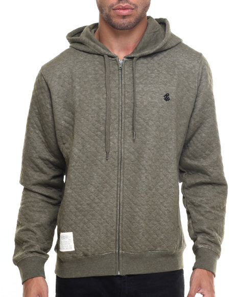 Rocawear Men Roc Diamond Quilted Pullover Hoodie Olive Large