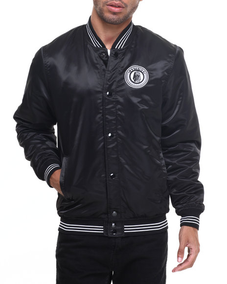 Last Kings - Men Black Last Kings Logo Varsity Style Satin Jacket