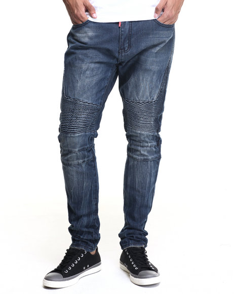 Buyers Picks - Men Dark Wash Square Zero Crinkle - Wash Moto - Style Denim Jeans