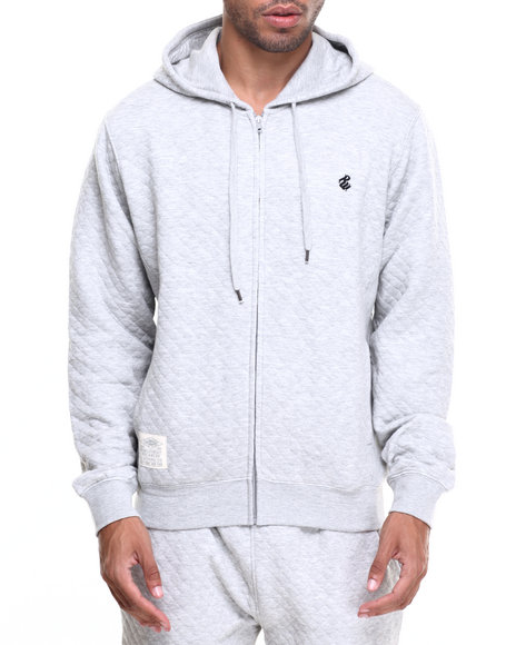 Rocawear Men Roc Diamond Quilted Pullover Hoodie Grey XX-Large