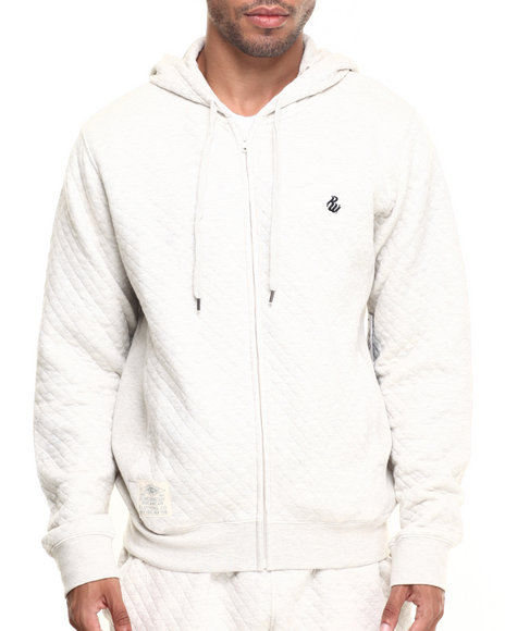 Rocawear Men Roc Diamond Quilted Pullover Hoodie Off White X-Large