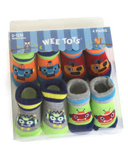 Black Friday Shop - Boys - Beep Bop 4 Pk Infant Booties (0-12m)