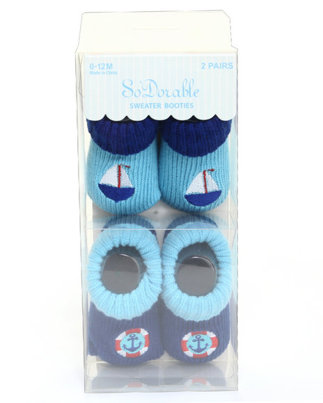 Drj Baby Heaven Shop Boys Sailboat/Anchor 2 Pk Knit Sweater Booties Blue 0-12 Mos