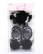 Girls - Polka Dot Chiffon Flower Headband/Bootie Gift Set (0-12m)