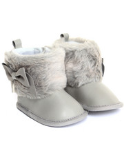 Girls - Faux Fur Cuff & Sueded Bow Boot (0-6m)