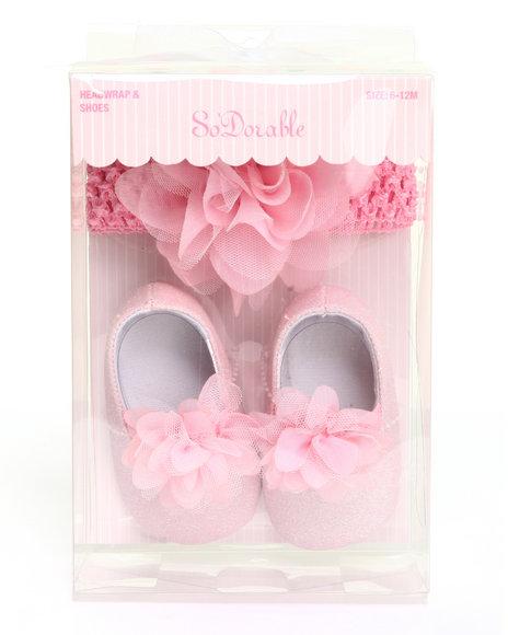 Drj Baby Heaven Shop Girls Crochet Headwrap And Flower Glitter Shoe Pink 6-12 Mo
