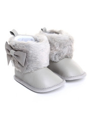 Girls - Faux Fur Cuff & Sueded Bow Boot (6-9m)