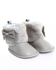 Girls - Faux Fur Cuff & Sueded Bow Boot (9-12m)
