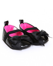 Footwear - Patent Mary Jane Satin Bow Shoe (0-6m)