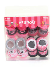 Girls - Stylish Paws 4 Pk Booties (0-12m)