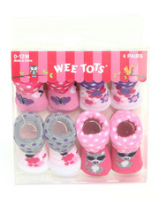 Girls - Cutie Time 4 Pk Booties (0-12m)