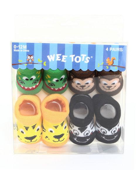 Drj Baby Heaven Shop Boys Puppy Pals 4 Pk Infant Booties (0-12M) Multi 0-12 Mos