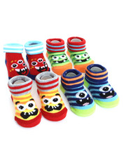 Boys - Rawr Monster 4 Pk Infant Booties (0-12m)