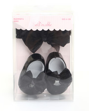 Girls - Black Satin Bow and Patent Mary Jane Shoe Set (6-12m)