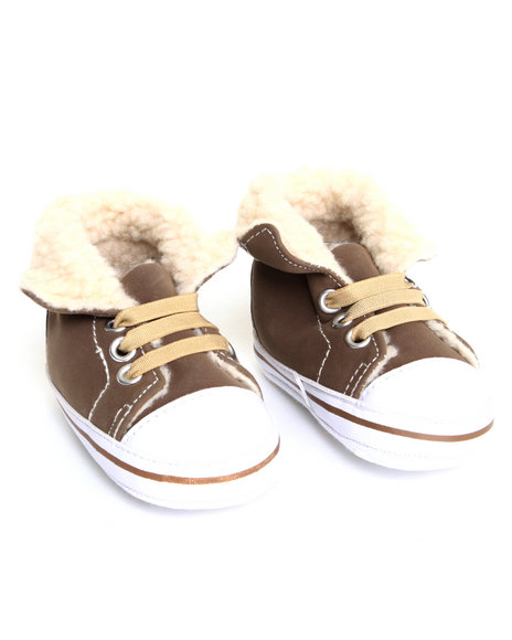 Drj Baby Heaven Shop Boys Sherpa Cuff Faux Suede High Top Sneaker Brown 0-6 Mo