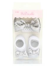Girls - Metallic Sequin Bowtie Headband/Bootie Gift Set (0-12m)