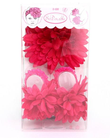 Drj Baby Heaven Shop Girls Flower Power Foot/Headwrap Set (Infant) Dark Pink 0