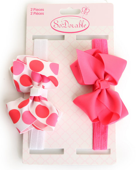 Drj Baby Heaven Shop Girls Bows Headband 2 Pc Dark Pink