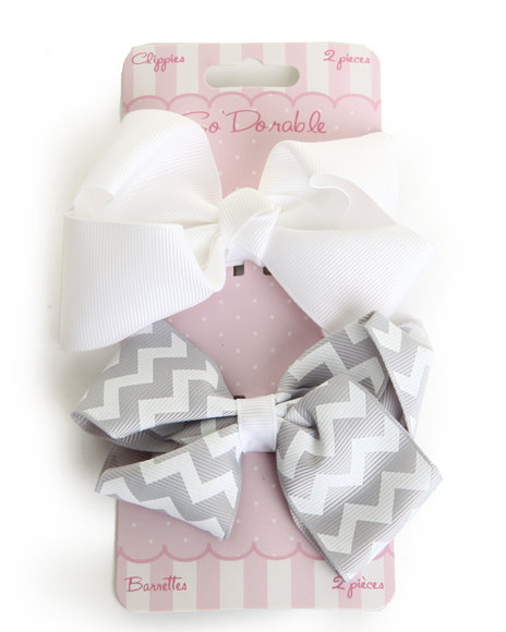 Drj Baby Heaven Shop Girls Chevron/Solid 2 Pc Clips Set Silver
