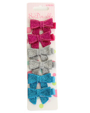 Girls - Sparkle Bow 6 Pc Clips Set