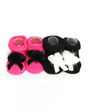 Black Friday Shop - Girls - Pom Pom 2 Pk Booties (0-12m)
