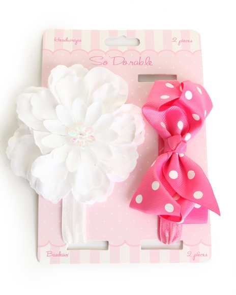 Drj Baby Heaven Shop Girls Bow/Flower Sequin Trim 2 Pc Headband Set Pink