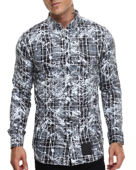 Rocawear - Men Grey Splattered Tartan L/S Button-Down