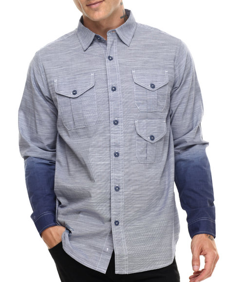 Rocawear - Men Blue Dipped L/S Button-Down