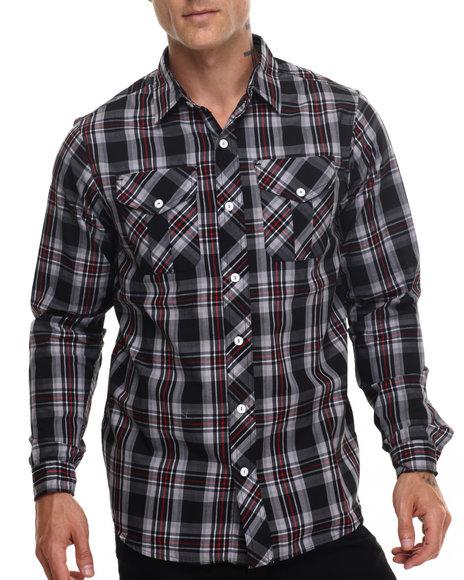 Rocawear Men Fall Madras L/S Button-Down Black X-Large