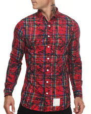 Men - Splattered Tartan L/S Button-down