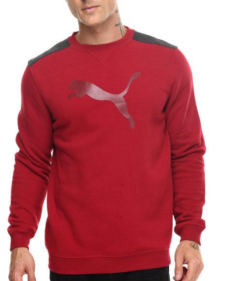 Puma - Men Red Signature Logo Crewneck Sweatshirt