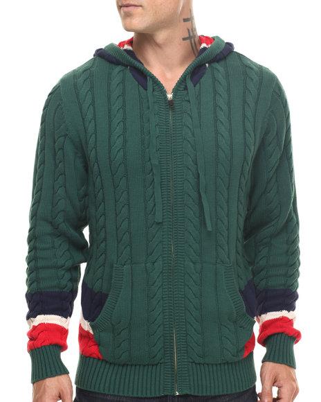 Rocawear Blak Men Carlton Zip Front Hooded Sweater Green XLarge