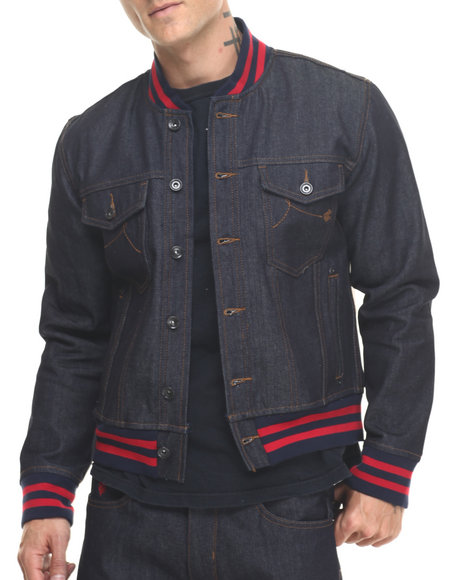 Rocawear - Men Raw Wash Baseball Denim Jacket