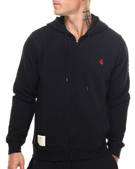 Rocawear - Men Black Roc Diamond Quilted Pullover Hoodie