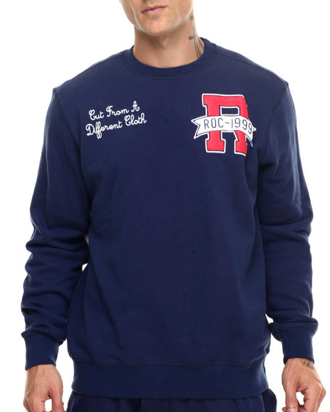 Rocawear - Men Dark Blue,Red Reversible Crewneck Sweatshirt