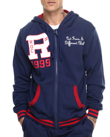 Rocawear - Men Dark Blue,Red Reversible Zip Hoodie