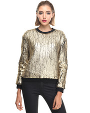 -FEATURES- - PADORE W - Foil Faux Fur Sweatshirt