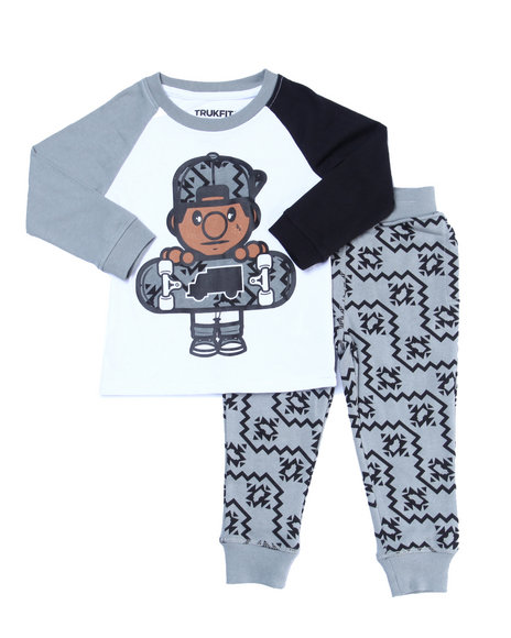 Trukfit - Boys Grey 2 Pc Lil' Tommy Jogger Set (2T-4T)