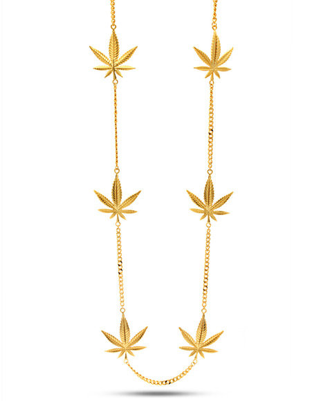 King Ice Men 18K Gold Weed Pendant Necklace Gold