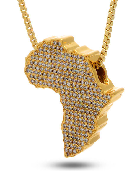 King Ice Men 18K Gold Africa Necklace Gold