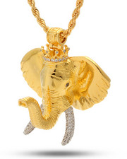 Men - 18K Gold Studded Elephant Necklace